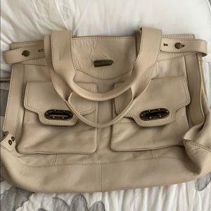 Cream leather satchel